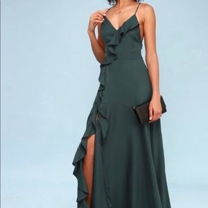 Lulu's Selma Teal Green Maxi Dress Medium NWT